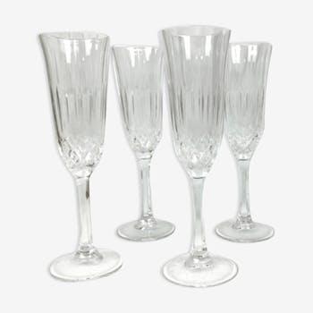 Lot de 4 flutes à champagne en cristal