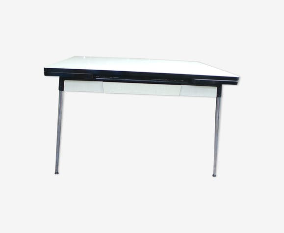 table formica rotub 60 70s pieds compas formica blanc vintage 5oauxqs. Black Bedroom Furniture Sets. Home Design Ideas