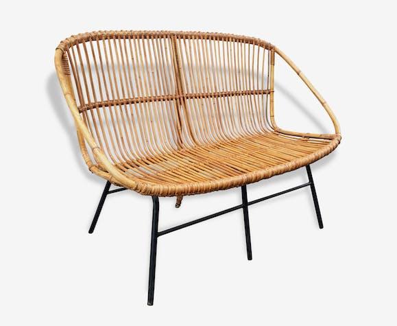 banquette canap 2 places rotin vintage ann es 60 rotin. Black Bedroom Furniture Sets. Home Design Ideas