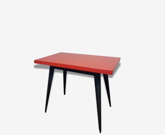 table vintage tolix industriel atelier formica rouge vintage 57359. Black Bedroom Furniture Sets. Home Design Ideas