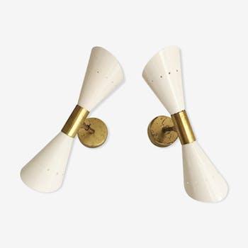 Paire d'appliques flute Italiennes des années 1950