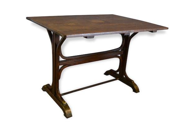 table de bistrot thonet en bois courb et laiton 1930 bois mat riau marron classique. Black Bedroom Furniture Sets. Home Design Ideas