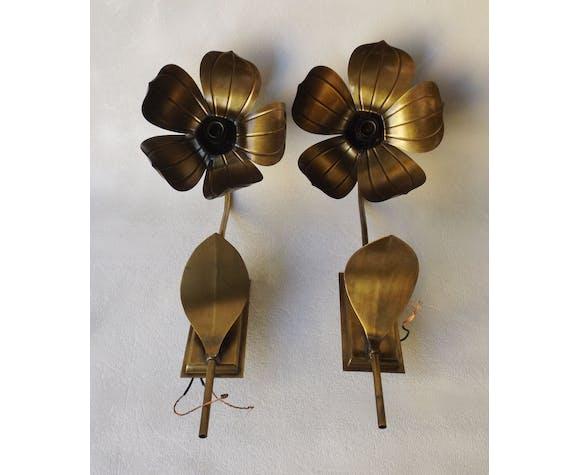 Paire d'appliques florales en forme de Lotus, Maison Florart, circa 1960