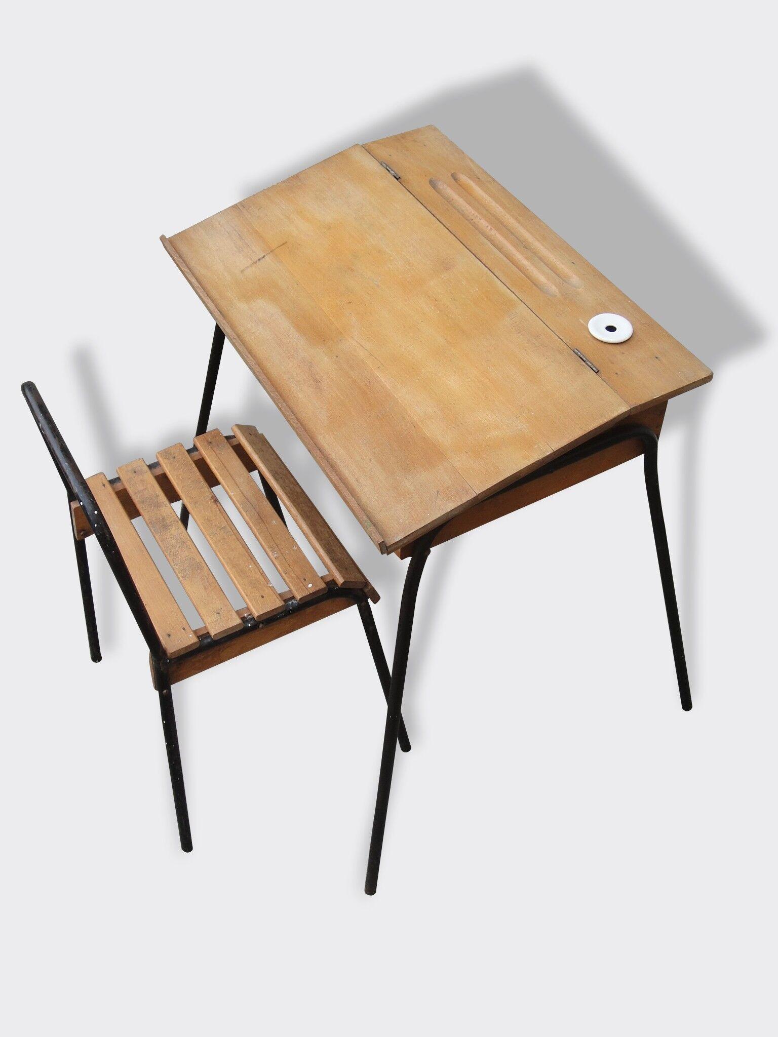 Bureau pupitre écolier bois massif avec sa chaise pied métal