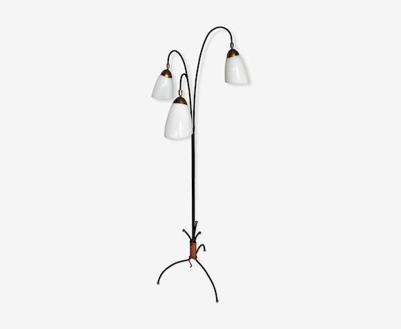 Lamp floor lamp tripod _closes steel cord brass vintage 50 60