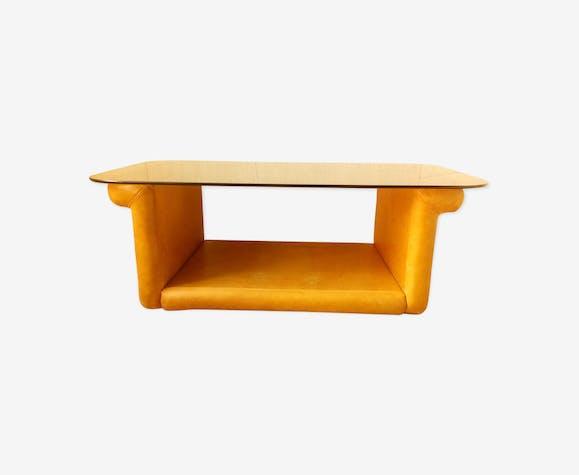 Table basse en cuir Roche Bobois années 70/80 - cuir ...