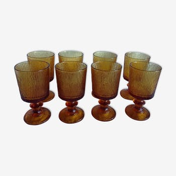Set of 8 amber stemware