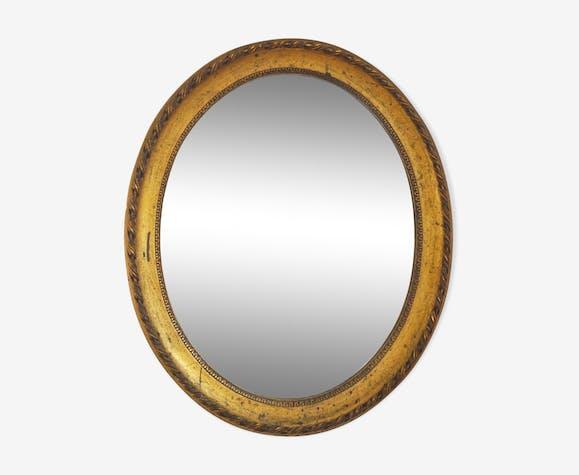 Miroir ancien ovale doré classique 58x48cm