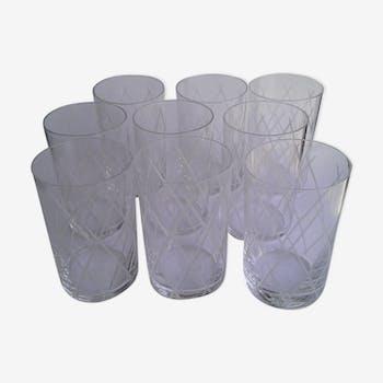 Set 9 verres gravés graphiques