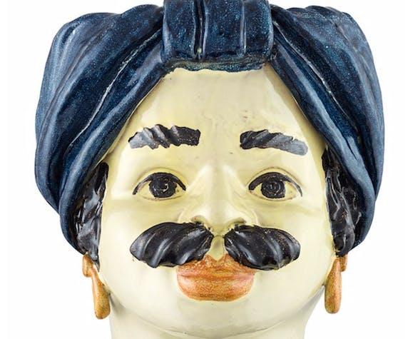 Vase tête turban bleu homme