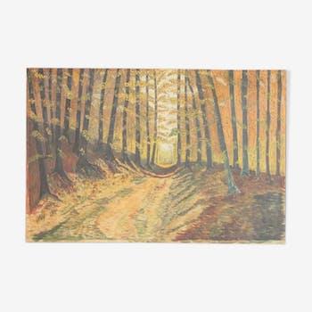 Peinture huile sentier de forêt