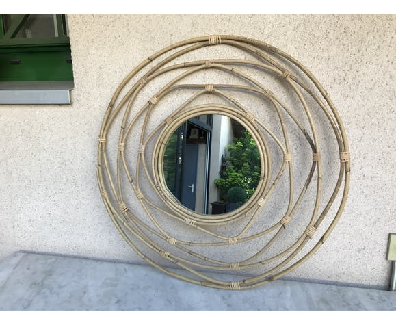 Miroir rond en rotin