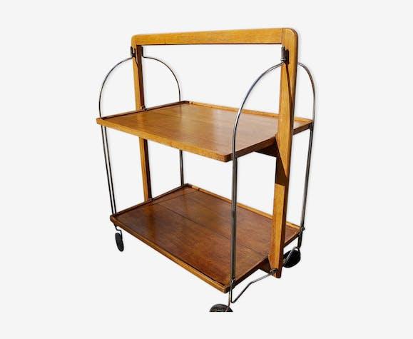 desserte roulante en bois pliante des ann es 50 60 bois mat riau bois couleur vintage. Black Bedroom Furniture Sets. Home Design Ideas