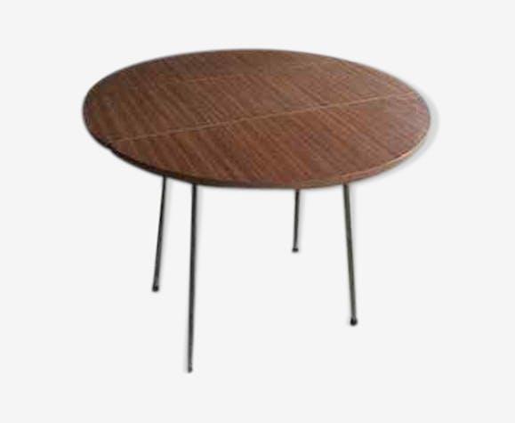 Brown Round Table In Vintage Formica Selency