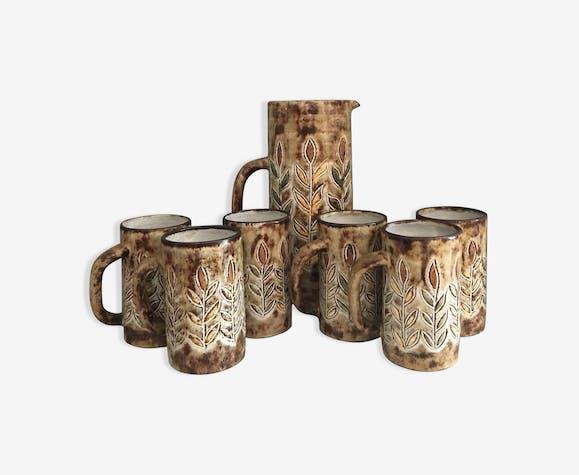 Service à orangeade en poterie Le Vieux Moulin à Vallauris