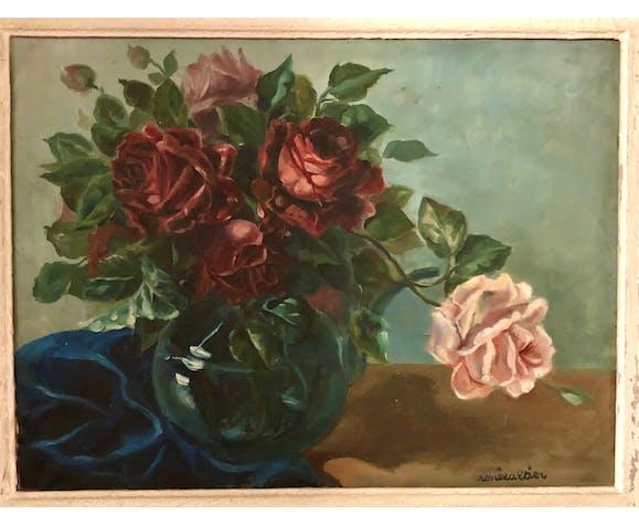 Bouquet de roses dans un vase Renée Altier (1905-1960)