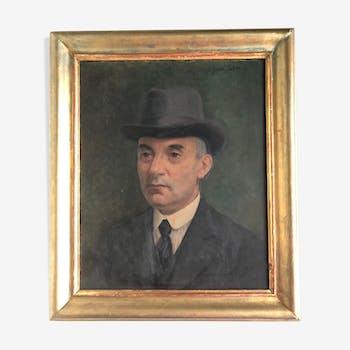 Huile sur panneau portrait d'homme au chapeau