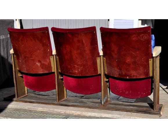 Cinema 3 seated bench Grenat 50s