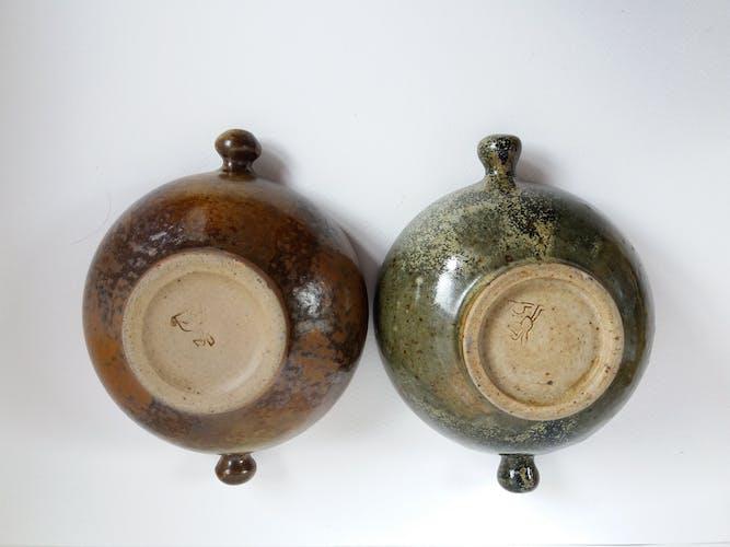 Duo bol grès vernissé à oreilles