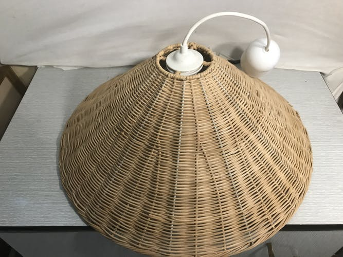 Suspension ancienne osier tressé armature métal style années 60 vintage