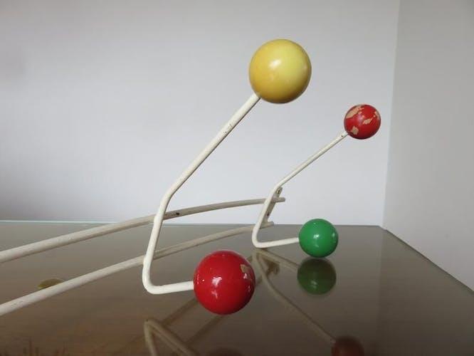 Porte manteau 8 patères boules couleur années 50 60