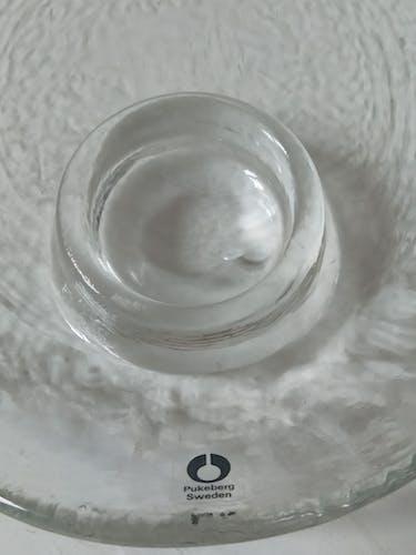 Assiettes coquetiers scandinave en verre soufflé de Pukeberg