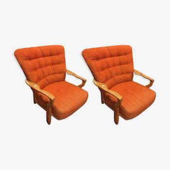 Paire de fauteuils par Guilleme Et Chambron