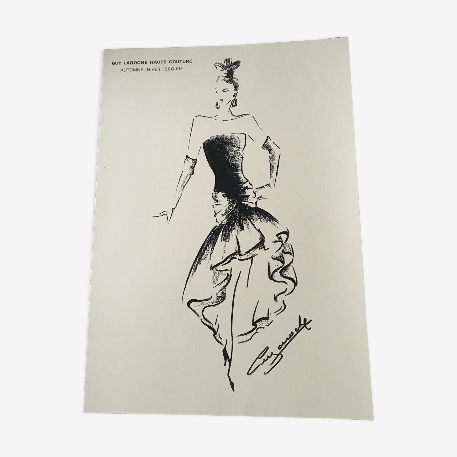 Illustration de mode de presse par Guy Laroche, années 80