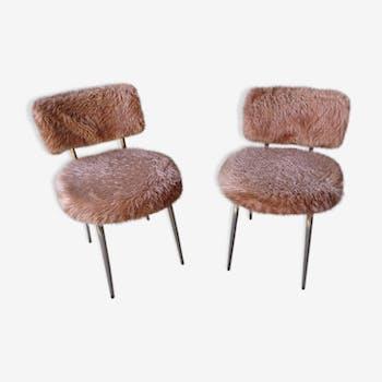 Paire de chaises en moumoute