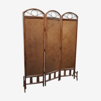 1960 vintage screen in bamboo woven 3-leaf