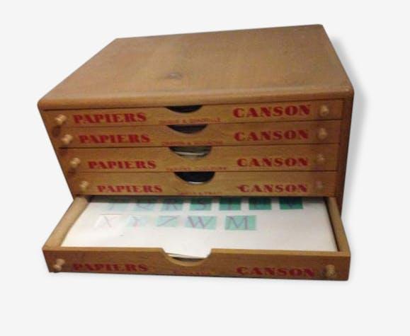 Meuble De Métier Vintage 5 Tiroirs Canson Bois Matériau Bois Couleur Bon état Vintage 80318