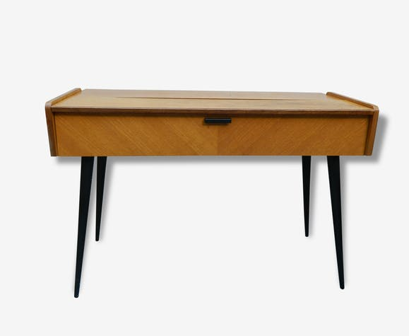 bureau console vintage design scandinave bois mat riau marron vintage 25521. Black Bedroom Furniture Sets. Home Design Ideas