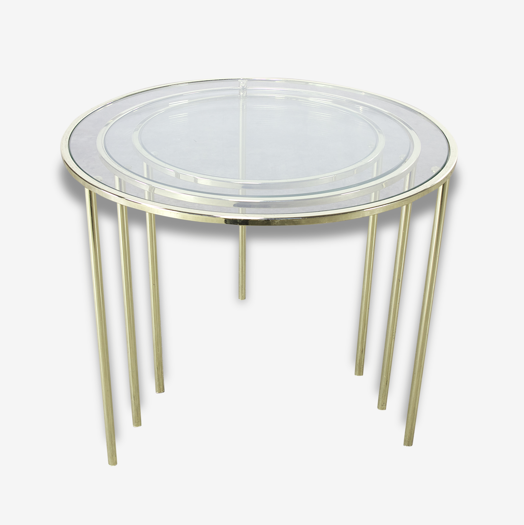 Midcentury Glass and Brass round nesting tables