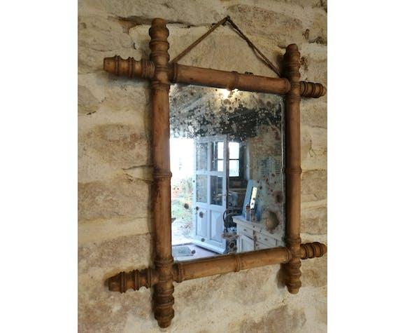 Ancien miroir en bois tourné 41x50cm