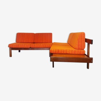 Vtg Mid Century Modular 2 Piece Guy Rogers Corner Sofa Set Danish Scandi Design