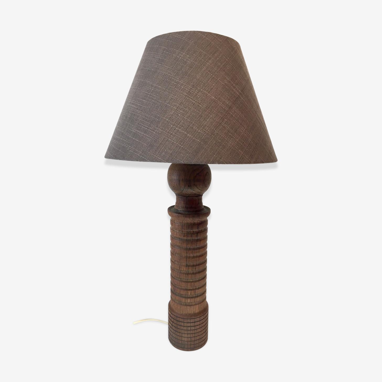Lampe vintage pieds en chêne tourné