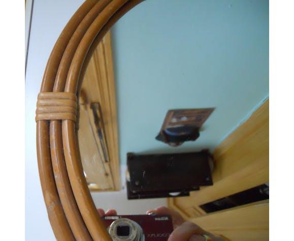 Miroir rond en rotin vintage