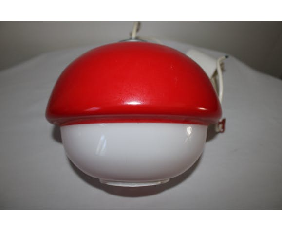 Suspension opaline rouge/blanc vintage
