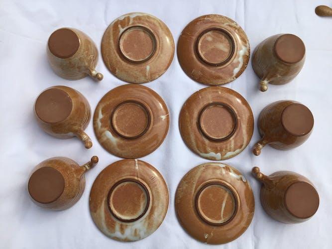 6 tasses café Vallauris avec sous tasses