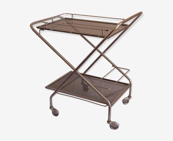 Rolling Table Folding Vintage Metal Silver Color Vintage
