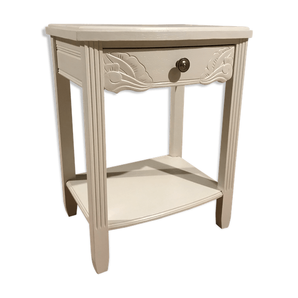 Table De Nuit Bois Materiau Blanc Bon Etat Vintage C77icml