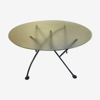 Table Dole Melipone de Philippe Starck, 1982, pieds noirs et verre
