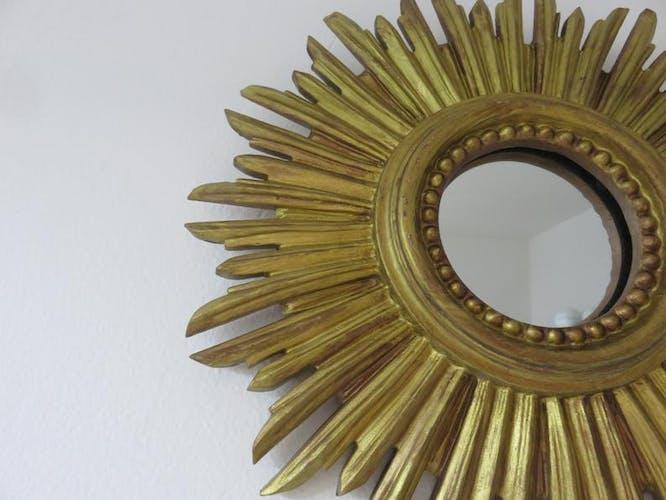 Miroir soleil doré années 70 30cm