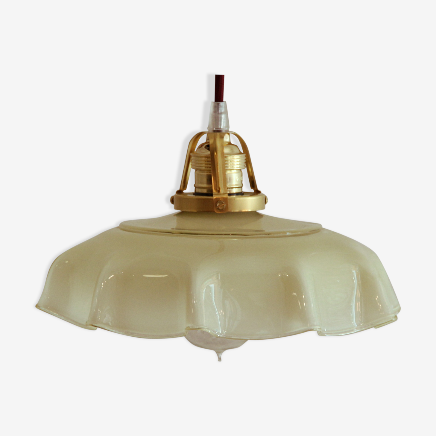 Old hanging lamp in yellow opaline glass