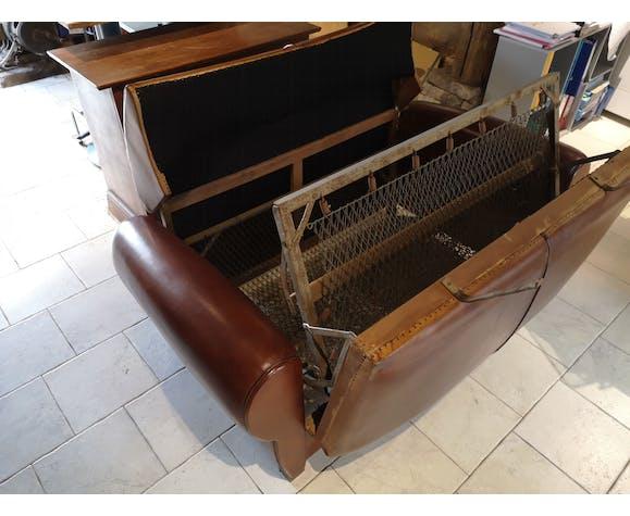 Sofa club convertible brown art deco