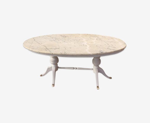 Patina with white marble top oval table