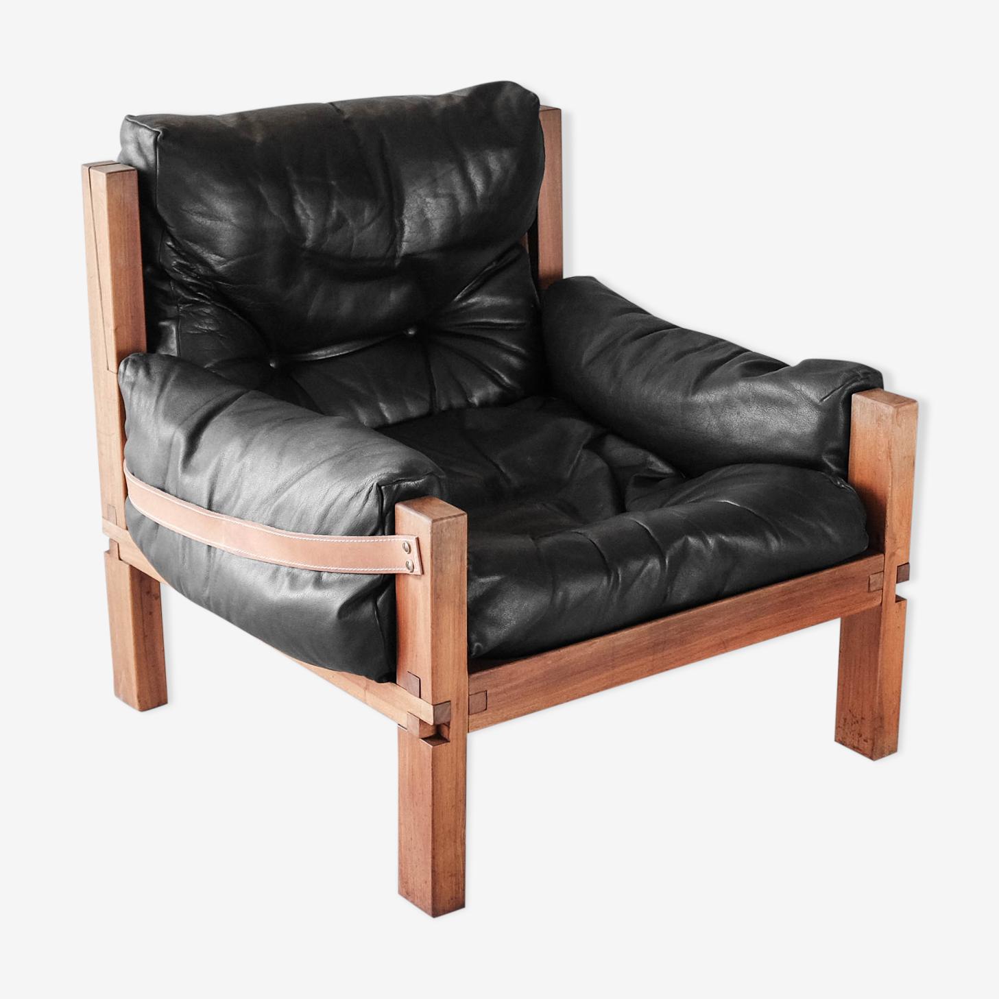 Pierre Chapo, fauteuil S15 en orme massif et cuir noir, 1970