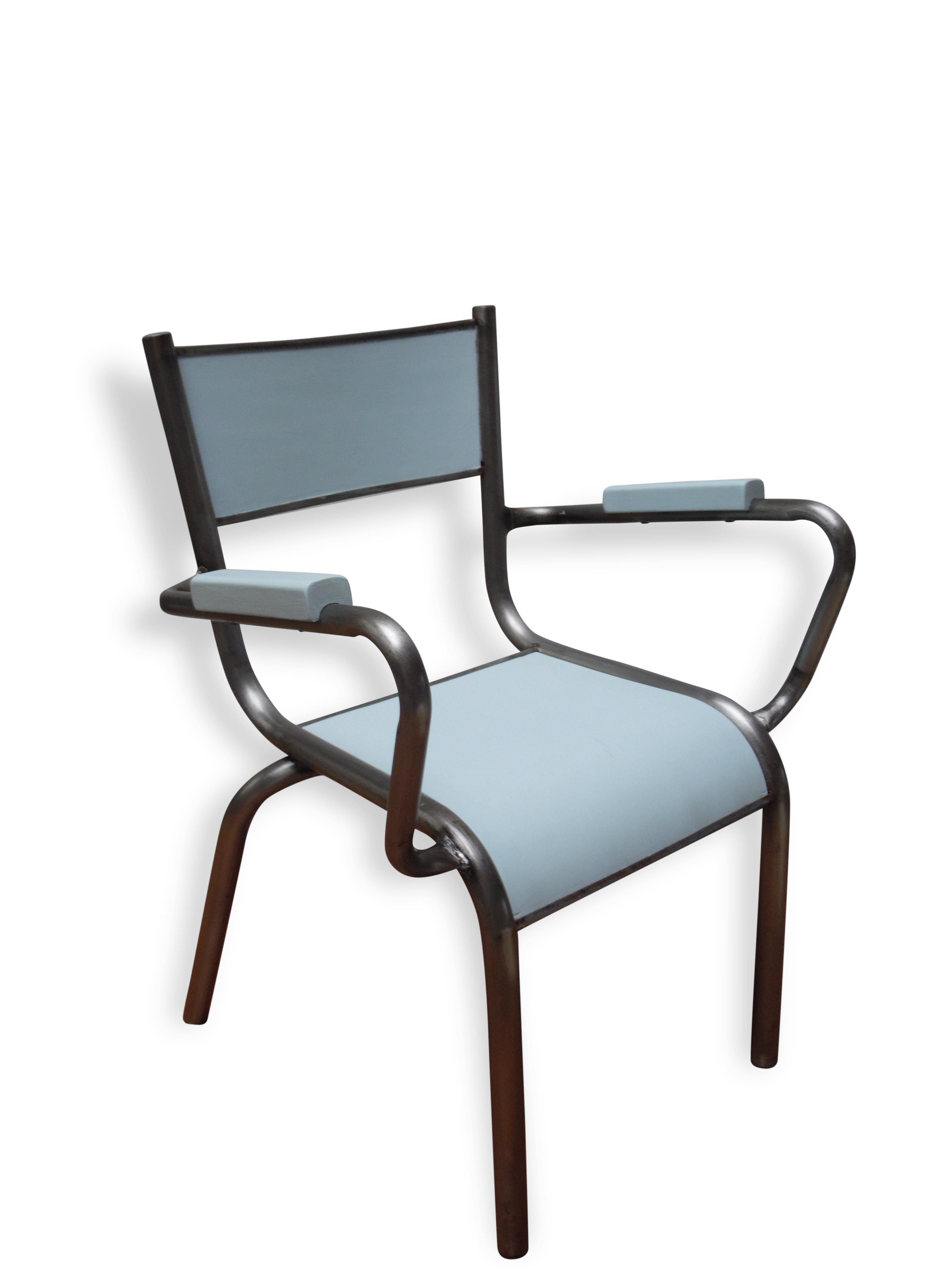 """Ancien petit fauteuil d école pour enfant """"Bleu Chabada"""" métal"""