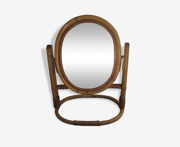 miroir psych en rotin ann es 60 rotin et osier bois couleur vintage 114823. Black Bedroom Furniture Sets. Home Design Ideas