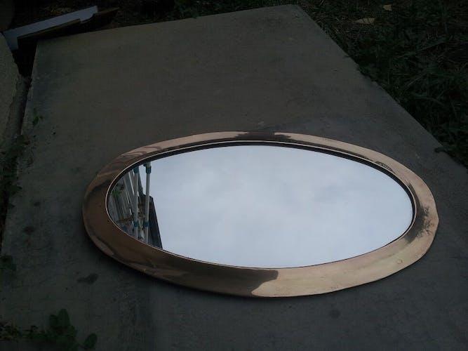 Brass oval mirror 43 x 27 cm